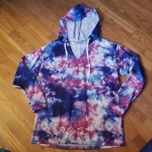 V Neck Tie Dye Hoodie Medium by Bobbie Brooks